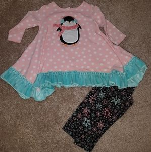 Ricrac and ruffles holiday tunic outfit penguin